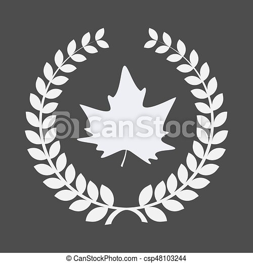 Isolated laurel wreath with an autumn leaf tree - csp48103244