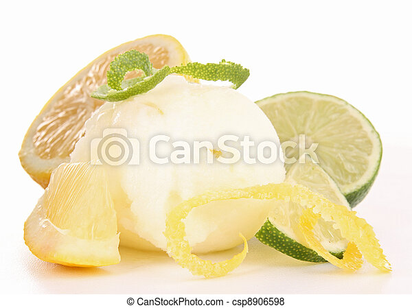 isolated lemon ice cream - csp8906598