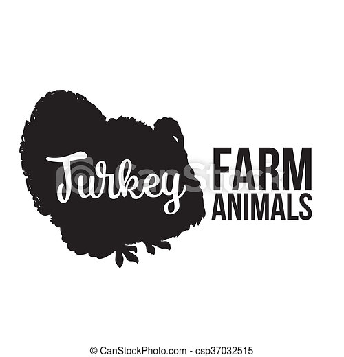 Isolated lettering farm turkey on a white background - csp37032515