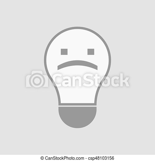 Illustration Of An Isolated Light Bulb With A Sad Text Face Clipart