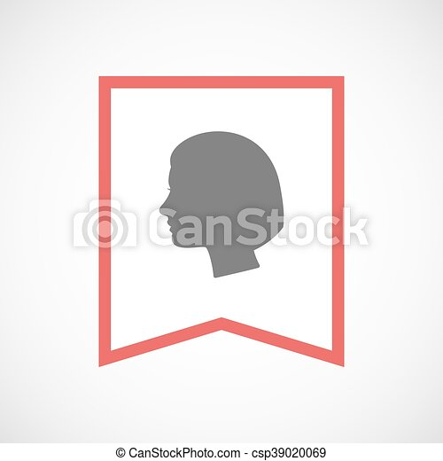 Isolated line art ribbon icon with a female head - csp39020069