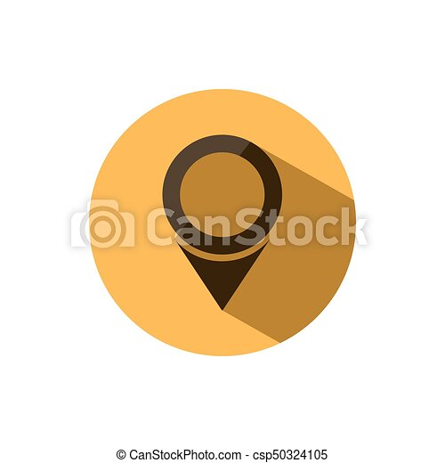 Isolated location icon for maps on a yellow circle with shade - csp50324105