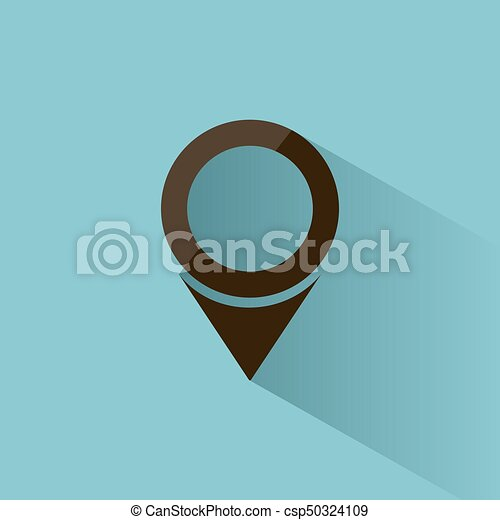 Isolated location icon for maps on a blue background with shade - csp50324109