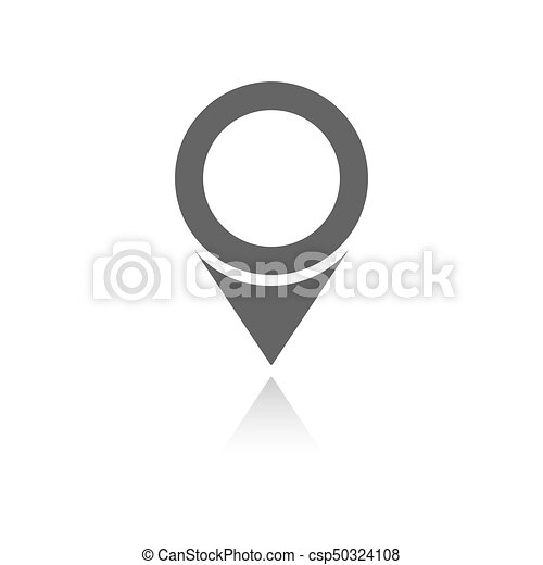 Isolated location icon for maps with reflection on a white background - csp50324108