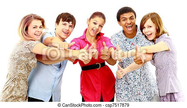isolated., młody, ludzie., radosny, grupa - csp7517879