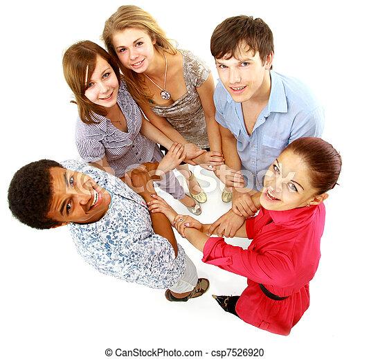 isolated., młody, ludzie., radosny, grupa - csp7526920