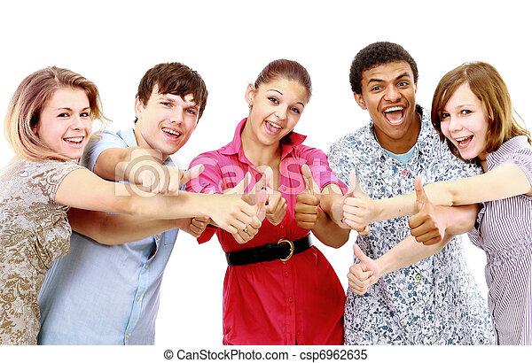 isolated., młody, ludzie., radosny, grupa - csp6962635