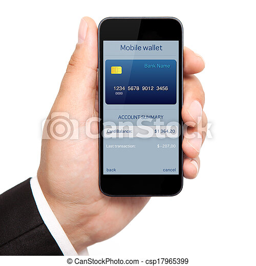 isolated man hand holding the phone with mobile wallet onlain shopping on the screen - csp17965399
