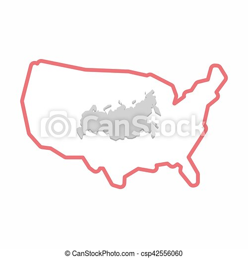 Usa And Russia Map.Isolated Map Of Usa With A Map Of Russia Illustration Of An