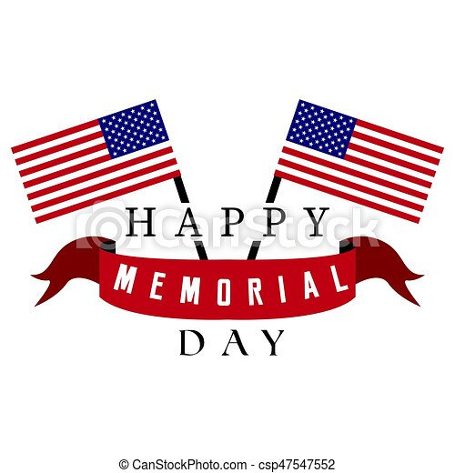 Isolated memorial day label - csp47547552