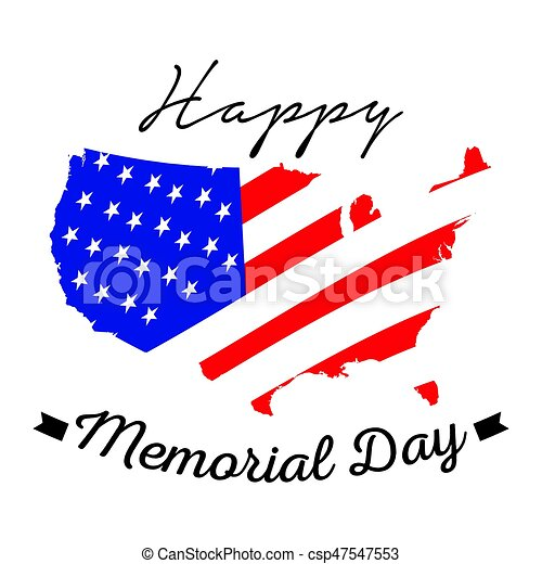 Isolated memorial day label - csp47547553