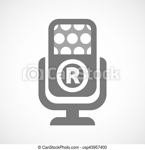 Isolated Mic With The Registered Trademark Symbol Vector Clipart