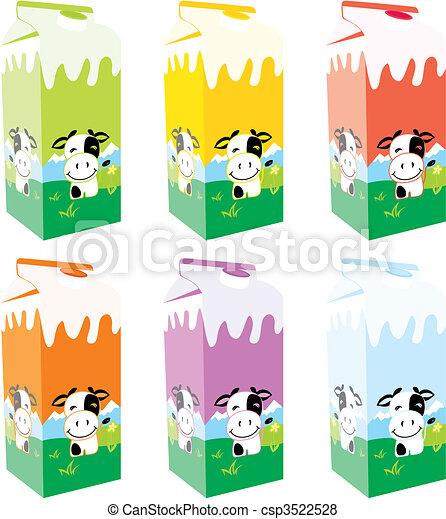 isolated milk carton boxes  - csp3522528