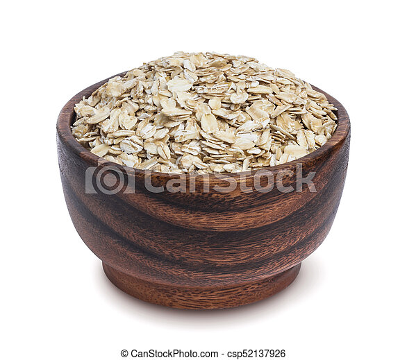 Isolated oatmeal. Oat flakes in wooden bowl on white background - csp52137926