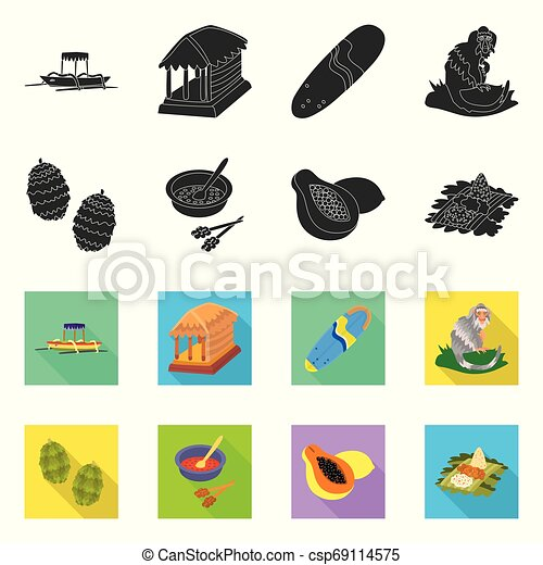Isolated object of and travel logo. Set of and traditional stock vector illustration. - csp69114575