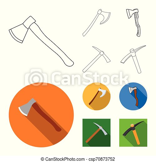 Isolated object of ax and hammer symbol. Collection of ax and chopping stock vector illustration. - csp70873752