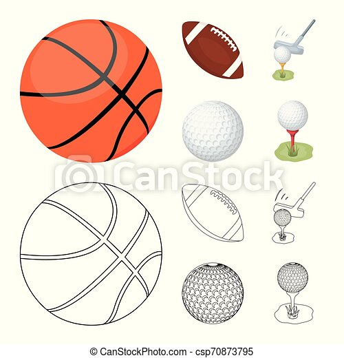 Isolated object of ball and soccer logo. Collection of ball and basketball stock vector illustration. - csp70873795