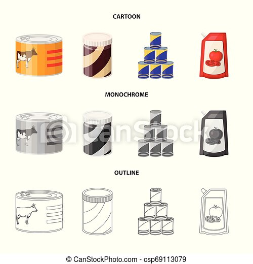 Isolated object of can and food symbol. Set of can and package stock vector illustration. - csp69113079