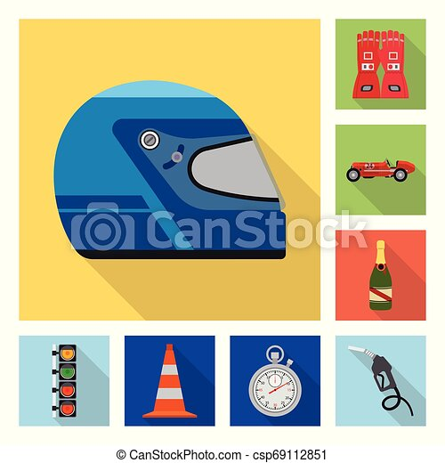 Isolated object of car and rally icon. Set of car and race stock symbol for web. - csp69112851