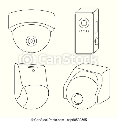 isolated object of cctv and camera icon collection of cctv and Business Camera System isolated object of cctv and camera icon collection of cctv and system stock symbol for web