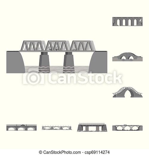 Isolated object of design and construct sign. Set of design and bridge vector icon for stock. - csp69114274
