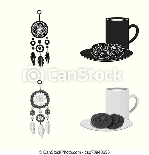 Isolated object of dreams and night sign. Set of dreams and bedroom stock vector illustration. - csp70940635