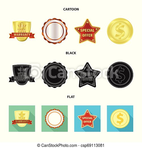 Isolated object of emblem and badge logo. Set of emblem and sticker vector icon for stock. - csp69113081