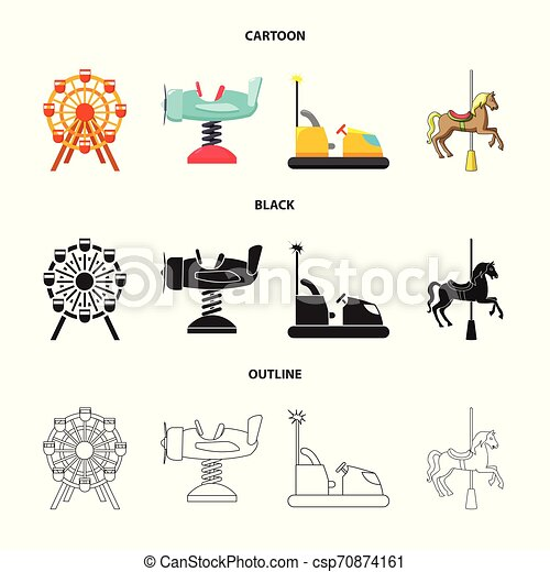 Isolated object of fun and horse icon. Collection of fun and circus stock vector illustration. - csp70874161