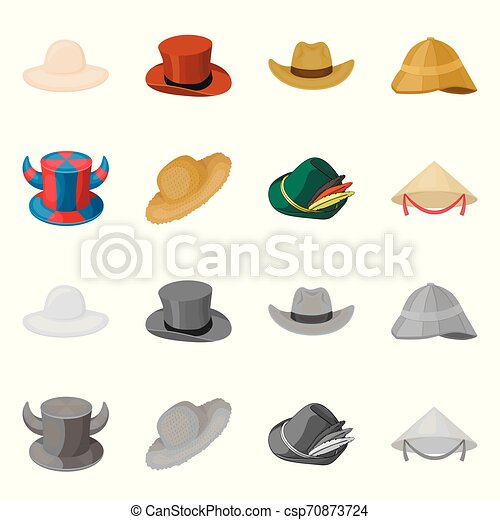 Isolated object of hat and cap symbol. Collection of hat and model stock vector illustration. - csp70873724