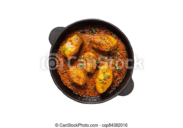 Isolated of spicy and hot Bengali fish curry. Indian food. Fish - csp84382016
