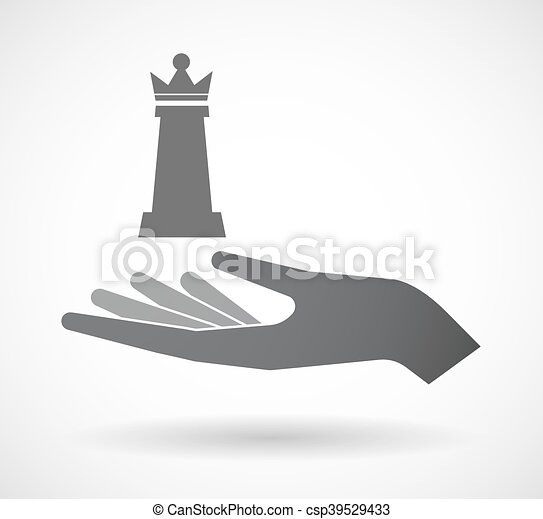 Isolated Offerign Hand Icon With A Queen Chess Figure Illustration