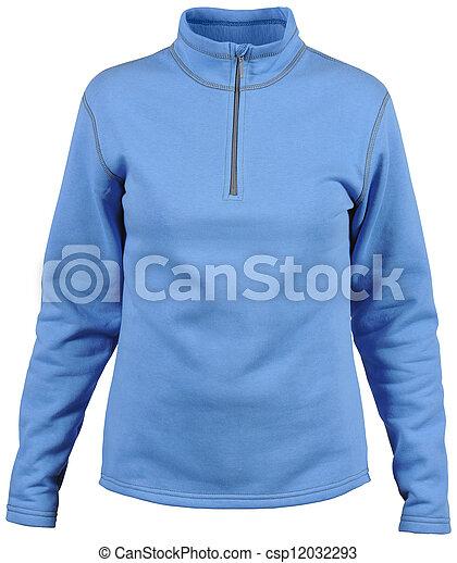 isolated on white female blue sport jacket - csp12032293