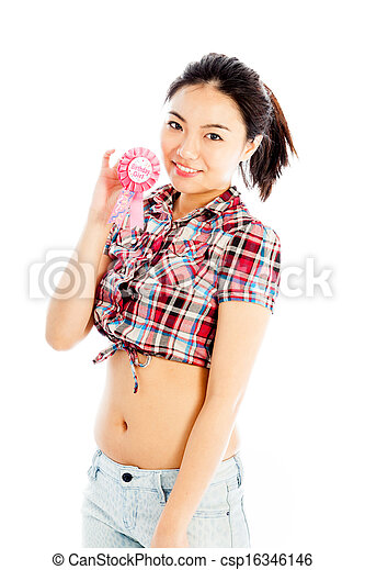 Isolated On White Sexy Asian Cowgirl Birthday Girl