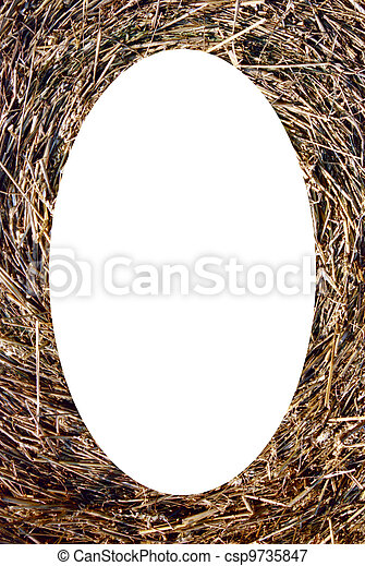 Isolated oval photoframe of straw bales background  - csp9735847