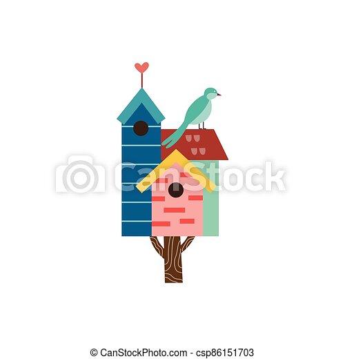 isolated., pájaro, birdhouse, ilustración, lindo, vector, plano, primavera, árbol pequeño - csp86151703