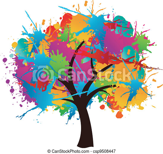 Isolated paint splash spring tree - csp9508447