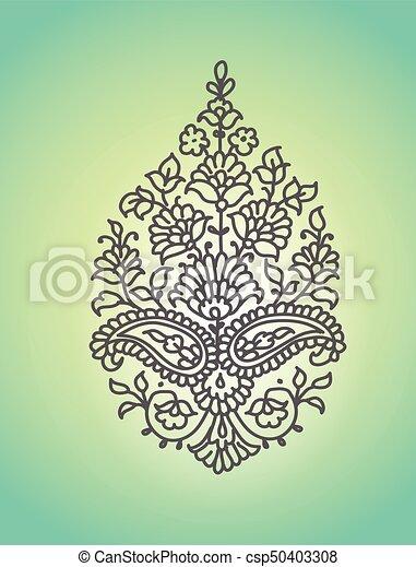 Paisley. Ornamento étnico. Ilustración de vectores aislada. - csp50403308