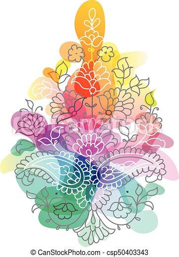 Paisley. Ornamento étnico. Ilustración de vectores aislada. - csp50403343