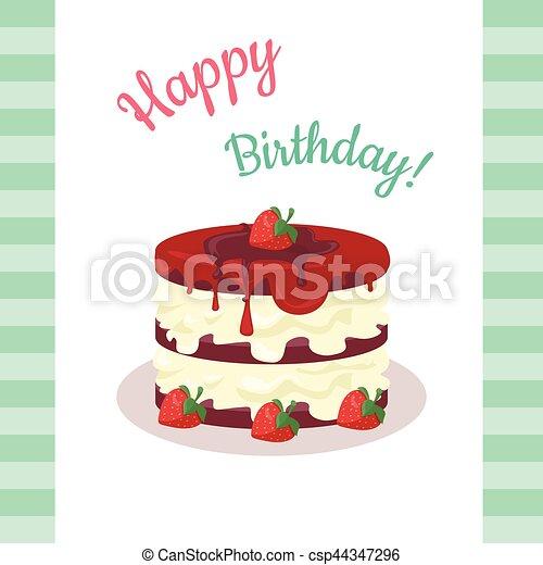Feliz pastel de cumpleaños con fresas aisladas. - csp44347296