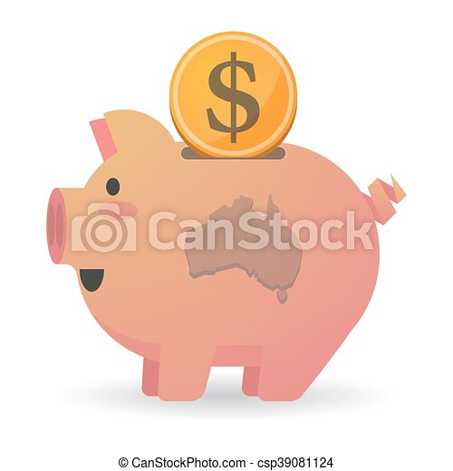 Isolated piggy bank icon with a map of Australia - csp39081124