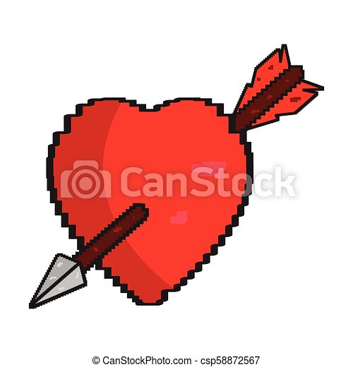 Isolated pixelated heart with an arrow icon - csp58872567