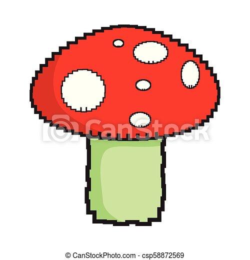 Isolated pixelated mushroom icon - csp58872569