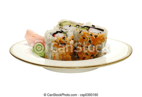 Isolated Plate of Sushi - csp0393160