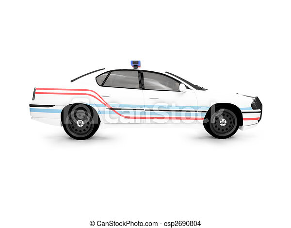 isolated police white car side view - csp2690804
