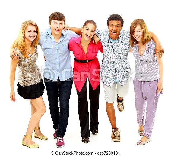 isolated., radosny, ludzie., grupa, młody - csp7280181