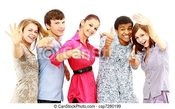 isolated., radosny, ludzie., grupa, młody - csp7280199