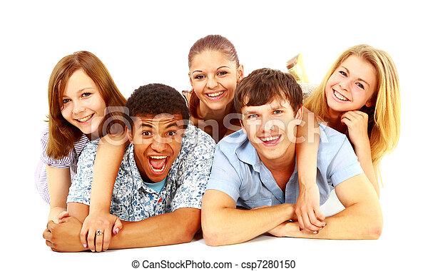 isolated., radosny, ludzie., grupa, młody - csp7280150