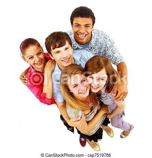 isolated., radosny, ludzie., grupa, młody - csp7519786