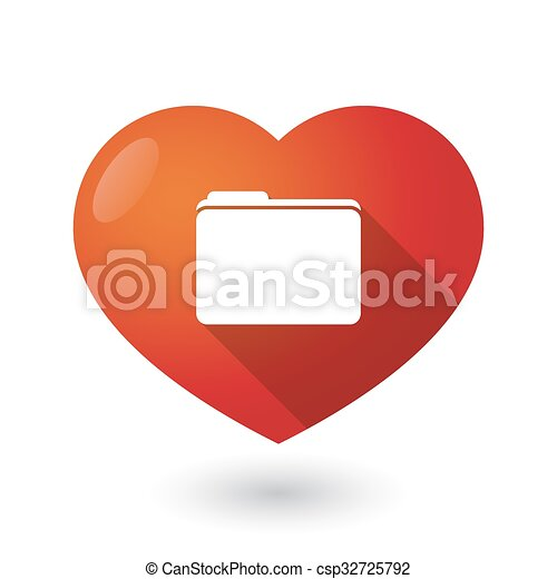 Isolated red heart with a folder - csp32725792