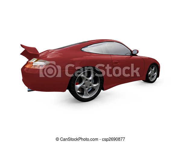 isolated red super car back view - csp2690877